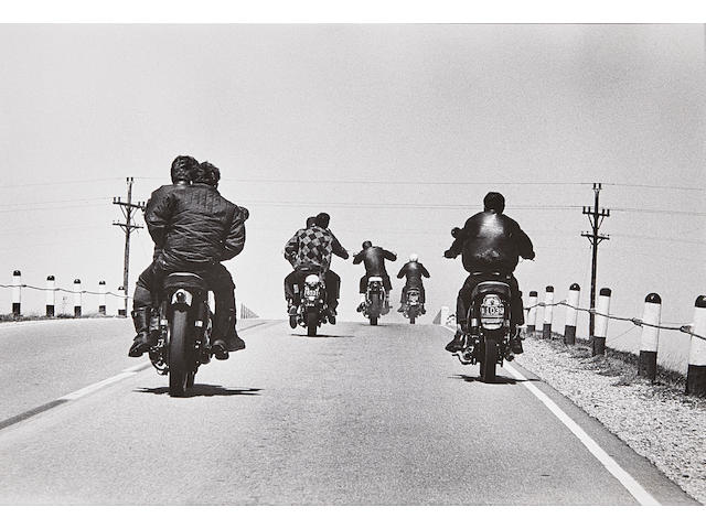 """Danny Lyon (born 1942); Route 12, Wisconsin, from """"The Bikeriders"""";"""
