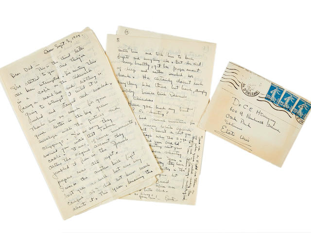 "Hemingway, Ernest. 1899-1961. Autograph Letter Signed (""Your son! Ernest"") to his father (""Dear Dad""),"
