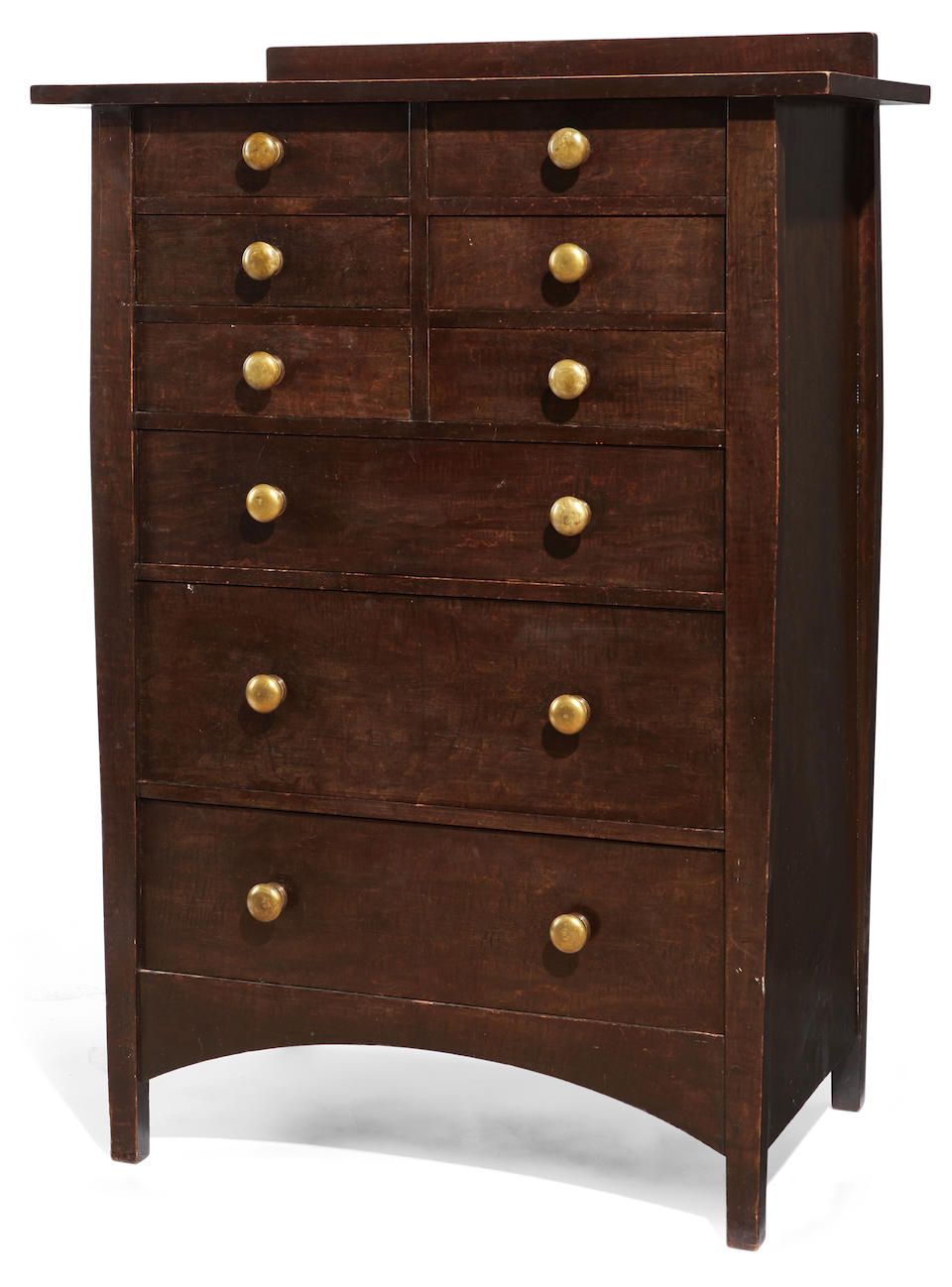 Harvey Ellis (1852-1904); After Chest of Drawerscirca 1910model no. 913, for the Craftsman Workshops of Gustav Stickley, Eastwood, New York, stained curly maple, inlaid with copper and fruitwoods, bronze pulls, faint paper labelheight 50 1/2 (128cm); width 36in (91cm); depth 20in (51cm)