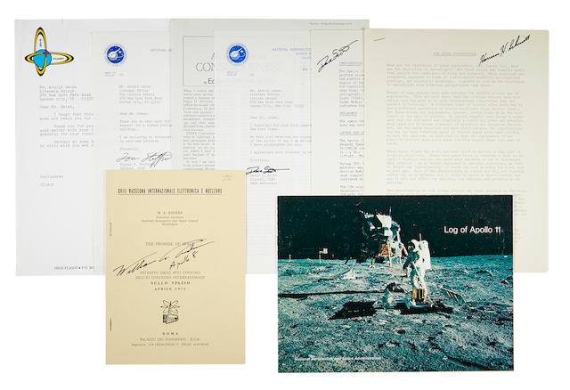 ASTRONAUT SIGNED DOCUMENTS. Archive of documents signed by Apollo Astronauts, with correspondence requesting the documents from the astronauts, including: