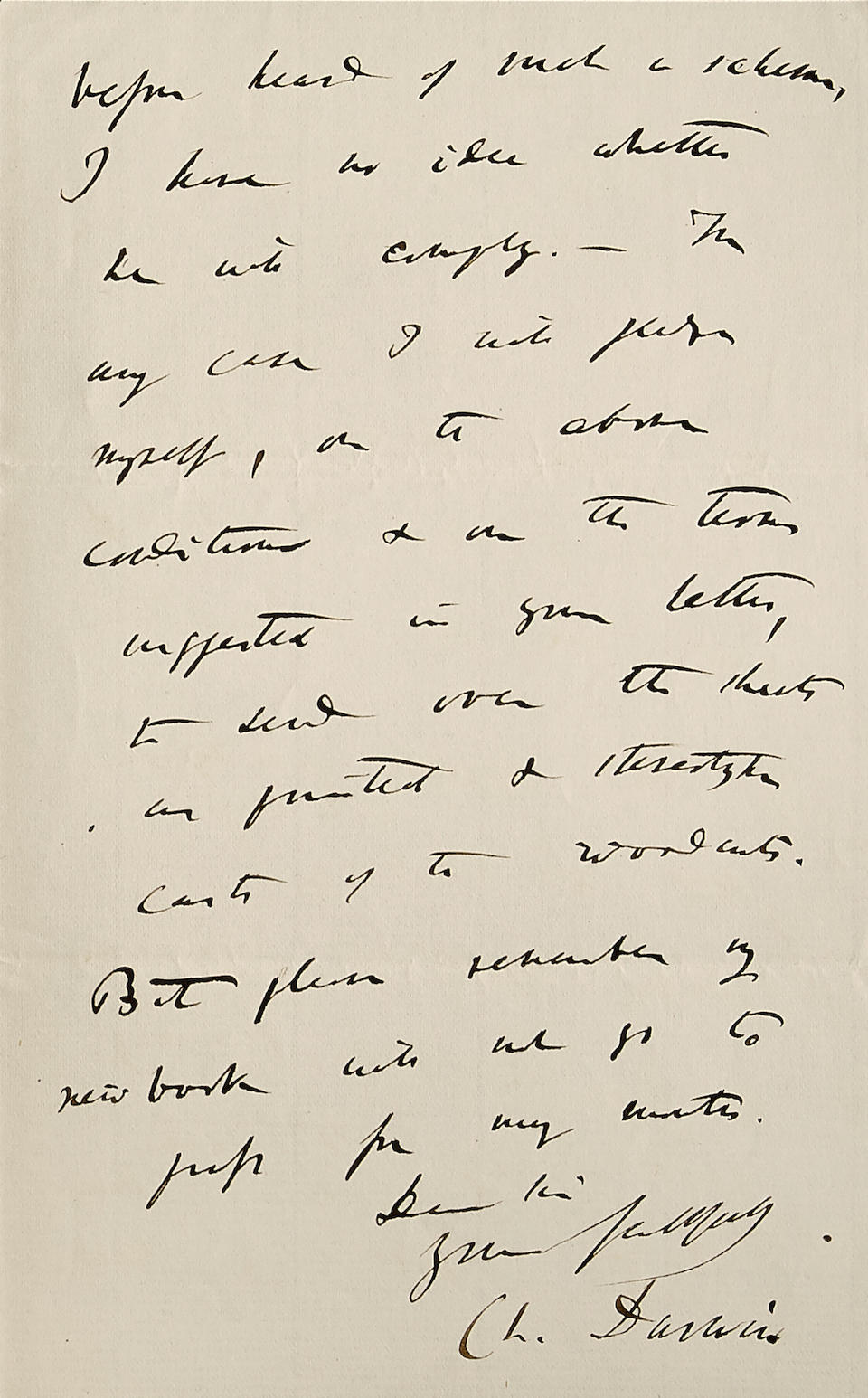 "DARWIN, CHARLES. 1809-1882. Autograph Letter Signed (""Ch. Darwin"") arranging for a new American edition of Origin of Species"