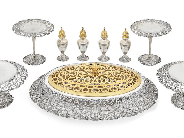An important American sterling silver Nine piece tableware collection by Shreve & Co., San Francisco, CA, 20th century