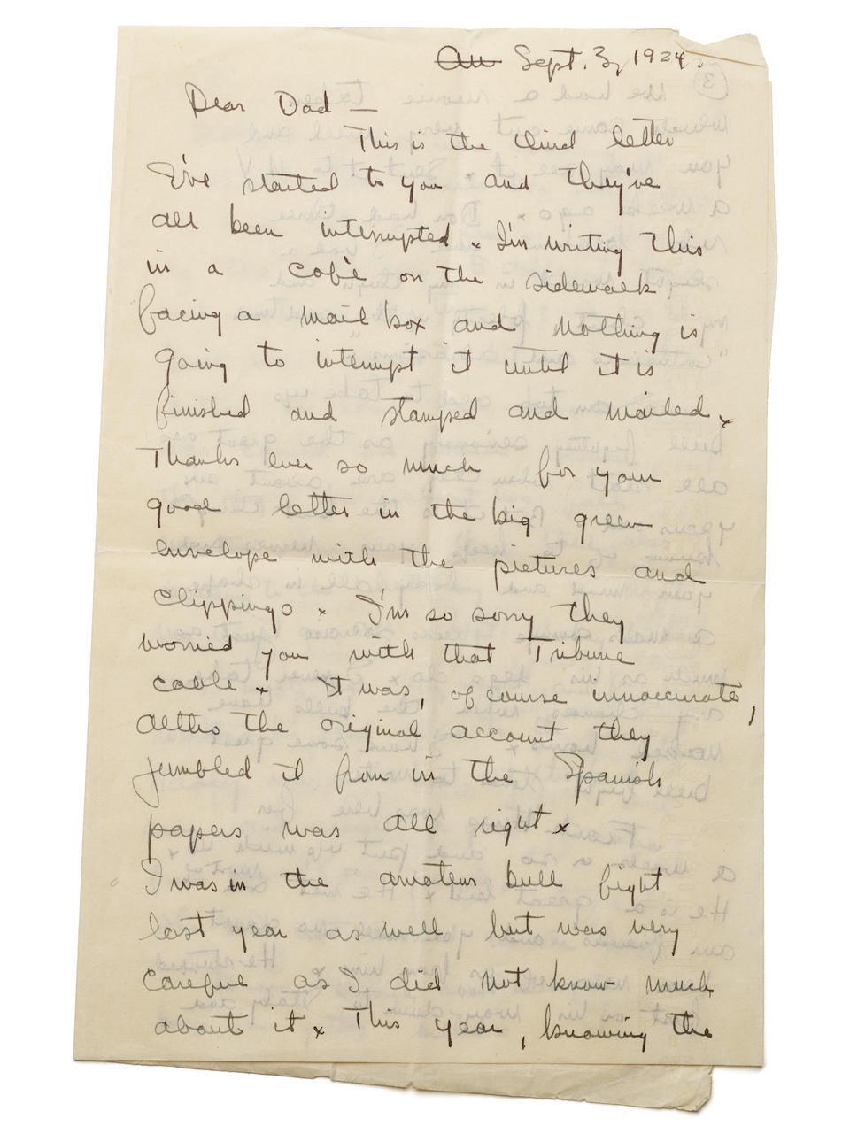 """Hemingway, Ernest. 1899-1961. Autograph Letter Signed (""""Your son! Ernest"""") to his father (""""Dear Dad""""),"""
