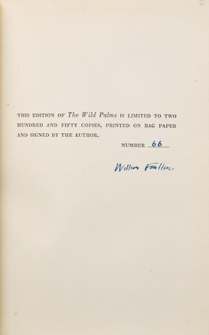 FAULKNER, WILLIAM. 1897-1962. The Wild Palms. New York: Random House, 1939.