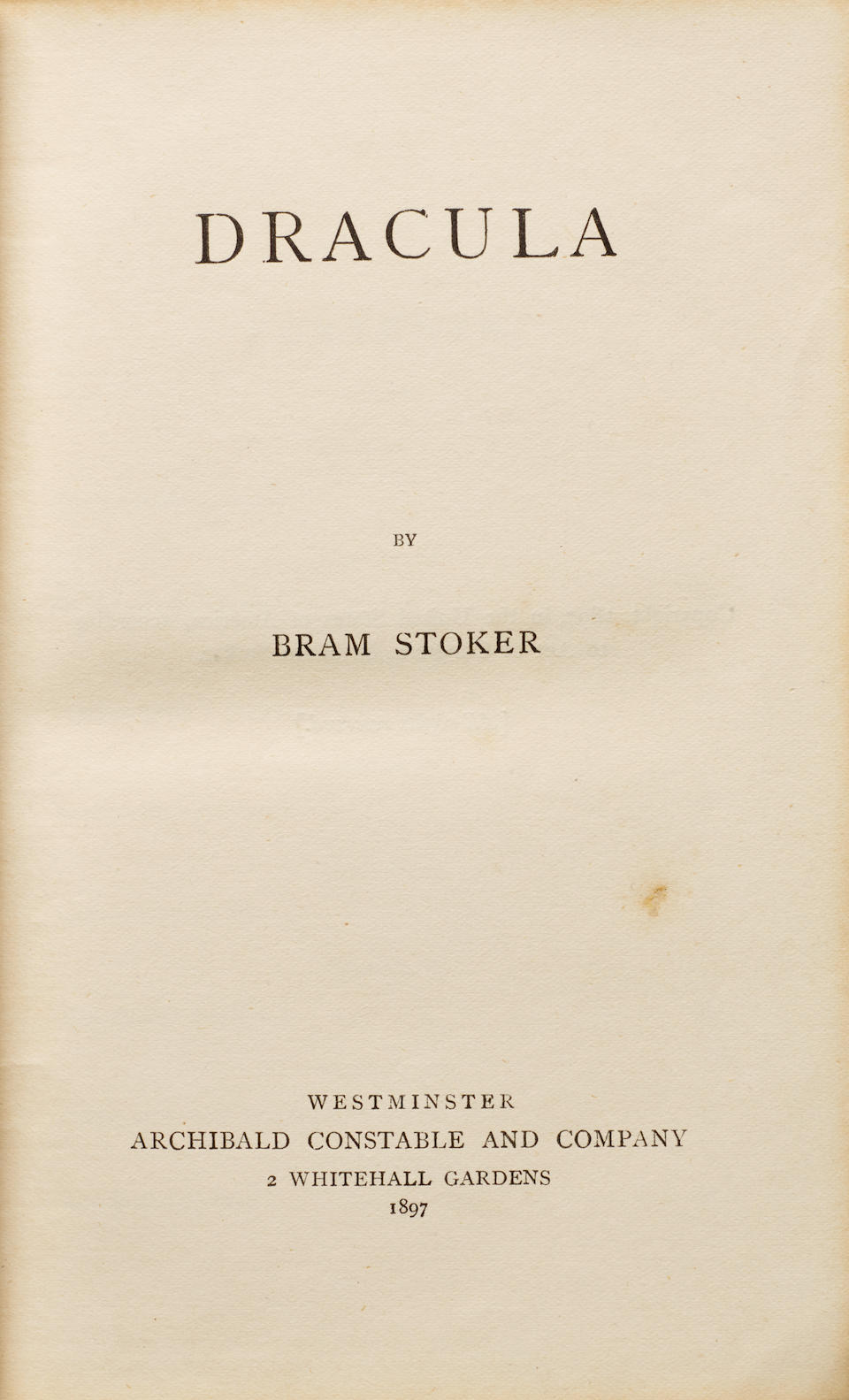 STOKER, BRAM. 1847-1912. Dracula. London: Westminster: Archibald Constable and Company, 1897.