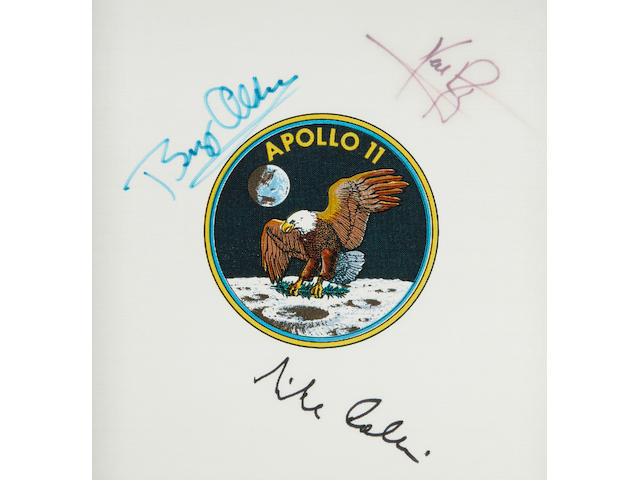 SIGNED BY THE ENTIRE APOLLO 11 CREW. Apollo 11 Beta cloth crew emblem,