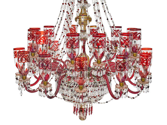A monumental Anglo-Indian cut clear and ruby glass chandelier 20th century