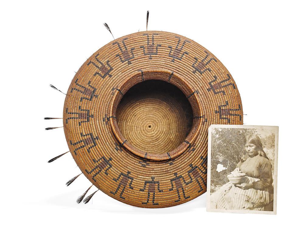 A Yokuts polychrome bottleneck basket