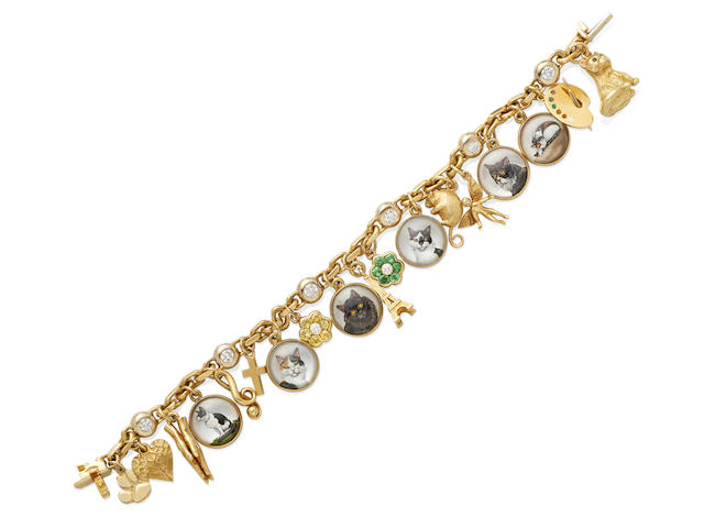A diamond and gem-set charm bracelet, Asprey & Garrard