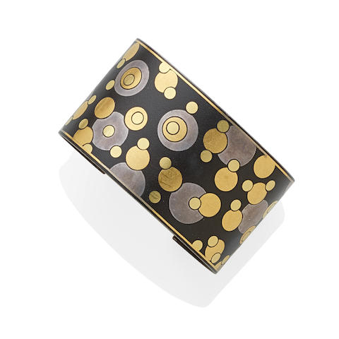 A gold, silver and black iron lacquer 'Bubble' cuff,  Angela Cummings for Tiffany & Co.,