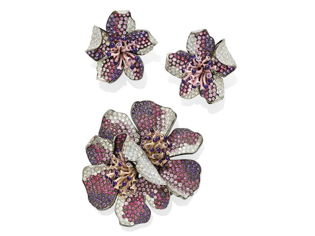A purple sapphire, diamond and enamel flower clip and ear clip set