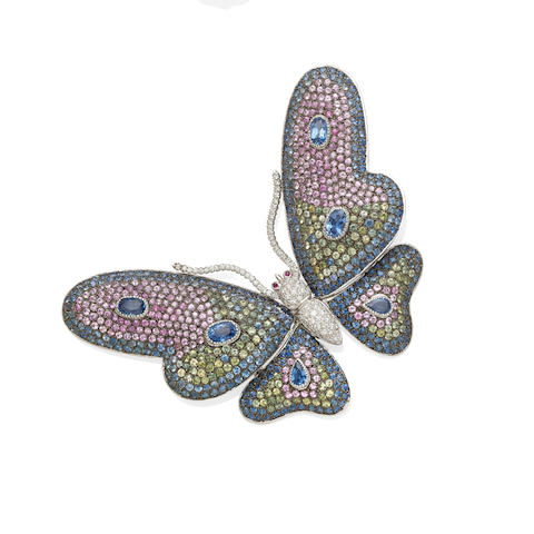 A diamond and gem-set butterfly clip