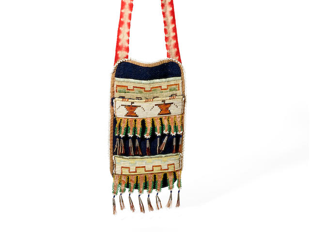 A rare Eastern Great Lakes quilled and beaded neck pouch