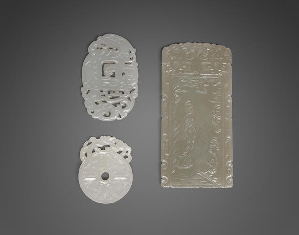 a group of three jade plaques (3)