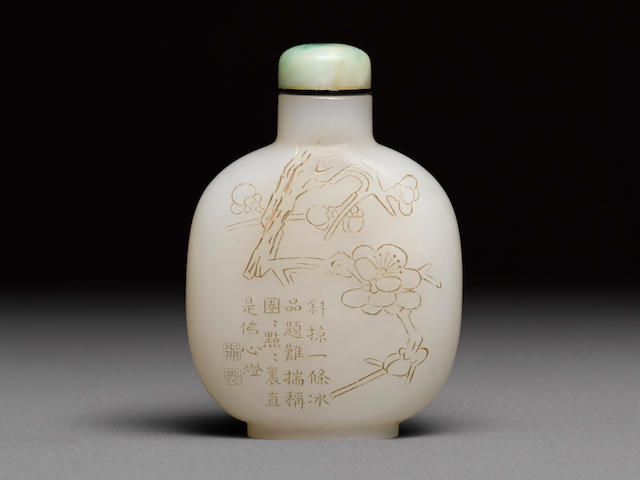 An inscribed white jade 'prunus' snuff bottle  Late 18th/19th century