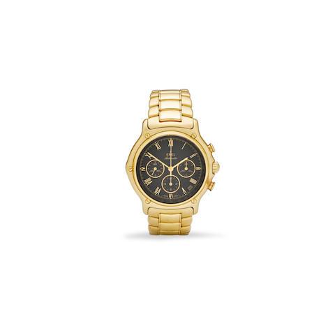 Ebel. An 18K gold automatic tachymeter chronograph and bracelet 1911 El Primero, Ref: 8134901, 1990's