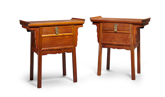 Two small huanghuali and mixed hardwood side tables Republic Period