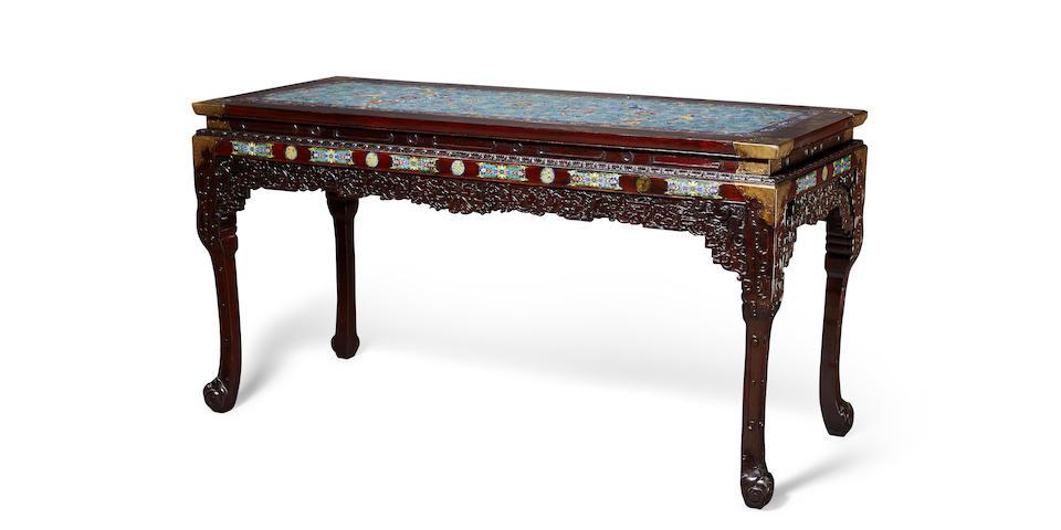 A cloisonné enamel-inlaid Hongmu table Republic Period