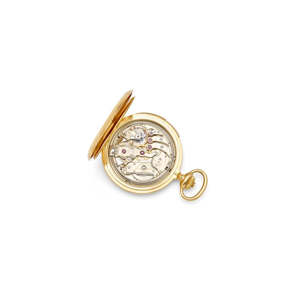 Patek Philippe. A fine 18K rose gold hunter cased quarter repeating watchCirca 1907