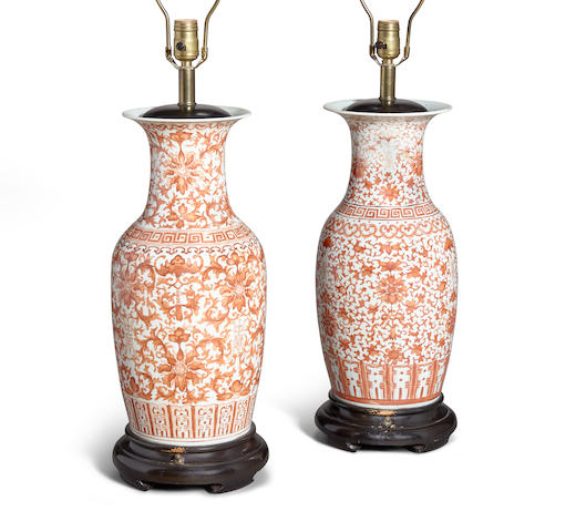 A pair of iron-red enameled porcelain baluster vases Late Qing/Republic period (2)
