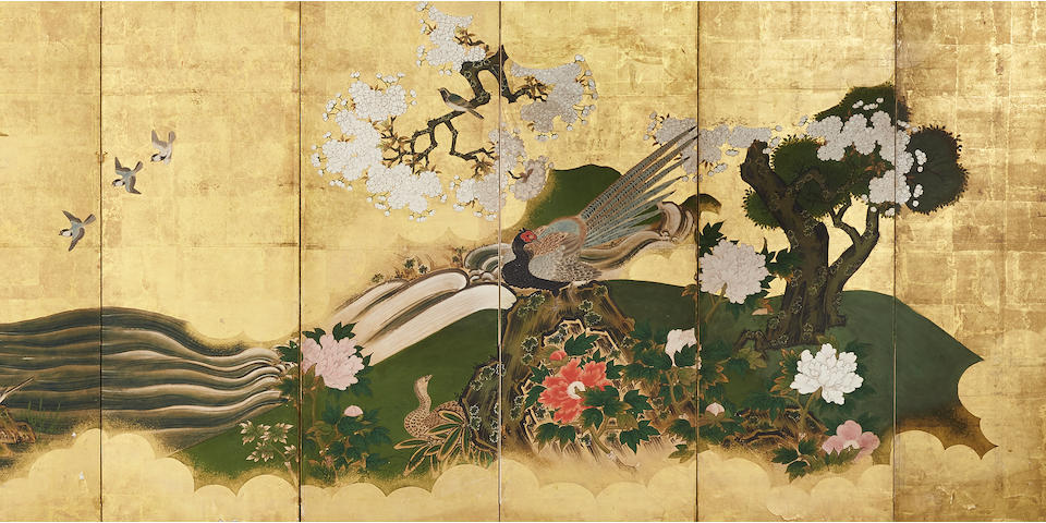 Anonymous Kano School (Edo period) Birds in a Flowering Landscape