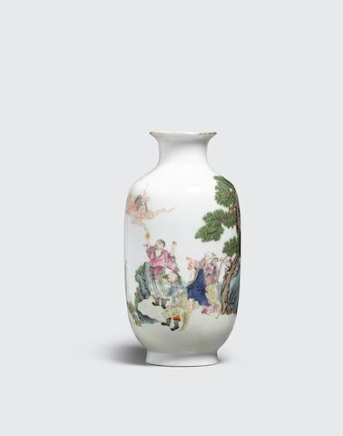 An enameled porcelain figural vase  Qianlong mark, Republic period