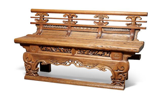 A soft wood bench   Qing dynasty, 19th century