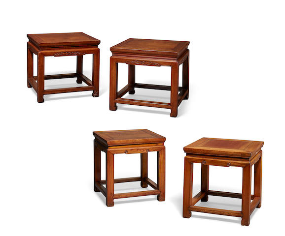 Two pair of softwood stools