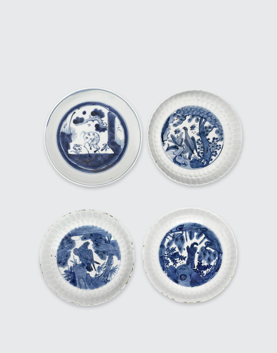 A group of four blue and white export dishes Late Ming (4)