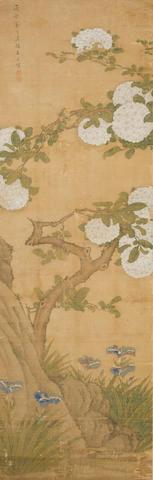 After Wang Wu (19th century)  Hydrangeas, Irises, and Rock