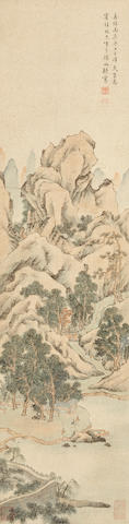 After Wen Boren (19th/20th century) Landscape and Figures