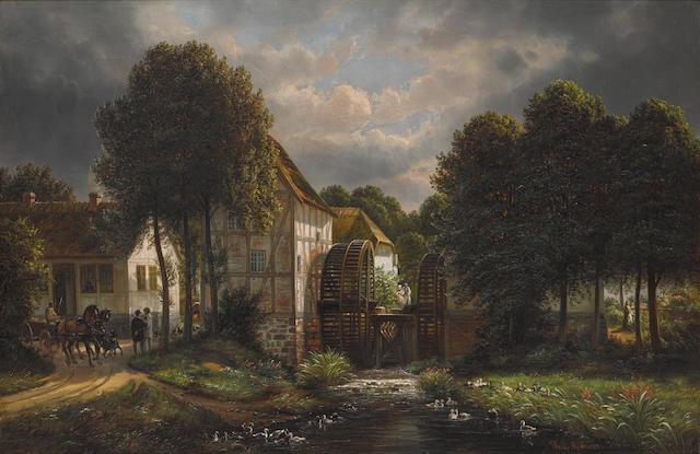 Joachim Ferdinand Richardt (1819-1895) The Mill 30 x 46in