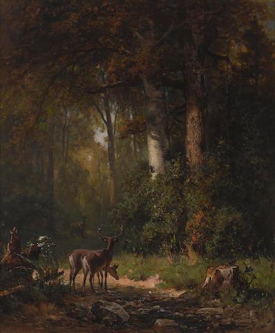 Thomas Hill (1829-1908) Deer Watering, Paper Mill Creek 24 x 20in (Painted in 1872.)
