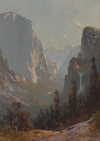 Thomas Hill (1829-1908) Yosemite Valley (El Capitan and Bridal Veil Falls) 22 x 16in (Painted circa 1874.)