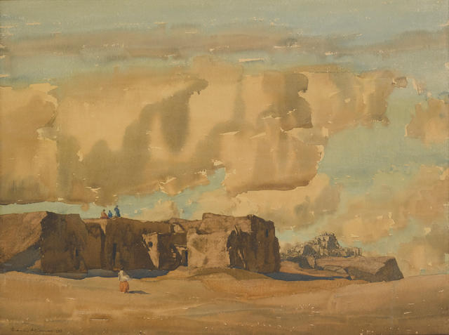 Francis John McComas (1875-1938) Indian Village, Arizona, alternatively titled, Mesa and Village, Arizona sheet 21 x 27 1/4in (Painted in 1913.)