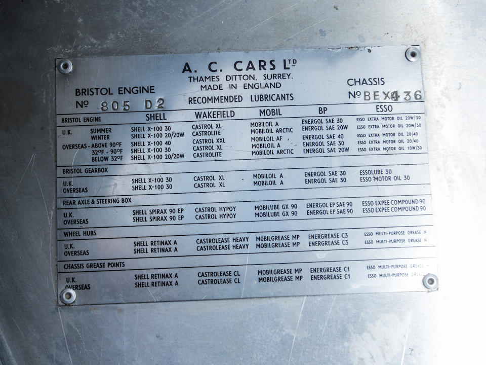 <b>1958 AC Ace-Bristol</b><br />Chassis no. BEX436<br />Engine no. 100D2 805