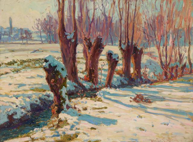 William Samuel Horton (1865-1936) The Poplars - Snow Effect (Blonay, Switzerland) 26 x 34 1/4in