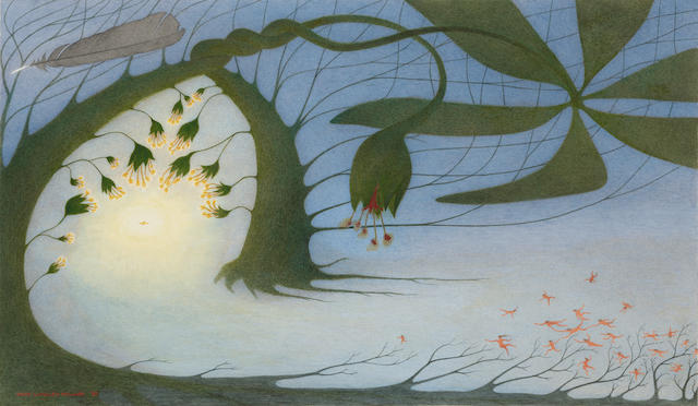 John Langley Howard (1902-1999) Tree of movement and light 16 x 27in (Painted in 1987.)