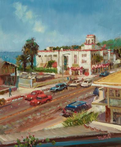 Filastro Mottola (1915-2008) View of Laguna Hotel from the Aegean Restaurant 12 x 10in