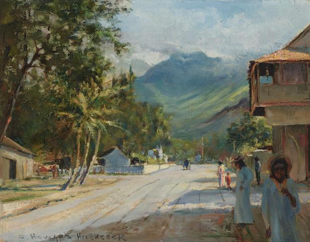 David Howard Hitchcock (1861-1943) A village scene 10 1/2 x 13 1/4in