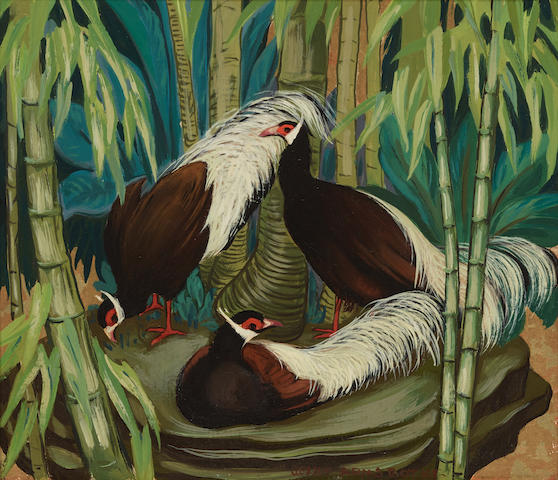 Jessie Arms Botke (1883-1971) Three tropical birds 7 5/8 x 9in