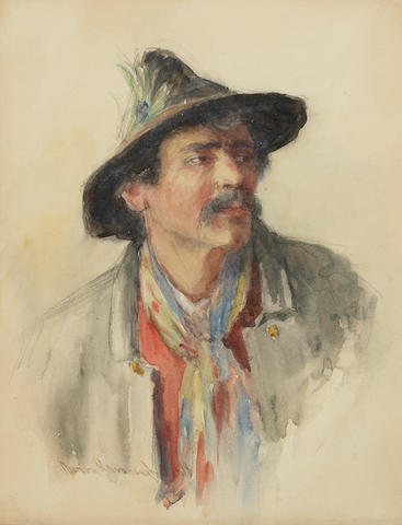 Marion Kavanaugh Wachtel (1870-1954) Portrait, believed to be Elmer Wachtel 13 x 10 1/2in (Painted in 1898.)