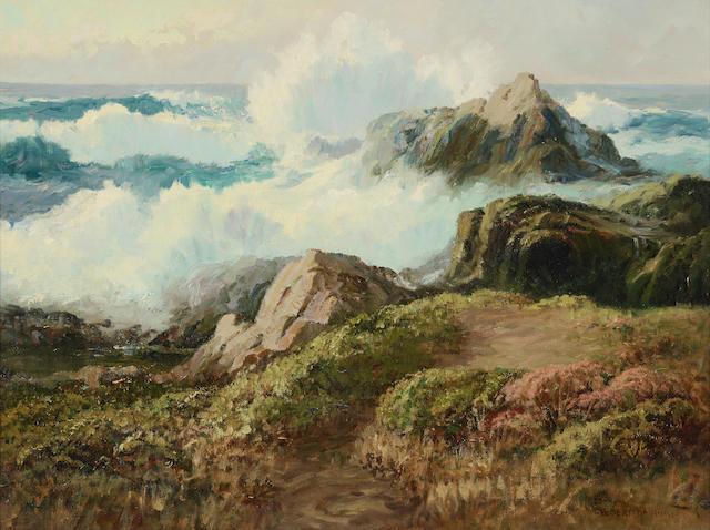 Albert Thomas DeRome (1885-1959) Rising Tide (Monterey Coast) 18 x 24in (Painted in 1939.)