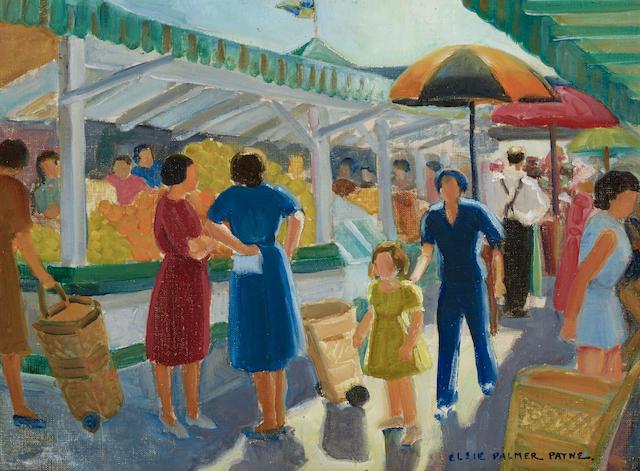 Elsie Palmer Payne (1884-1971) The Farmer's Market, No. 1 12 x 16in