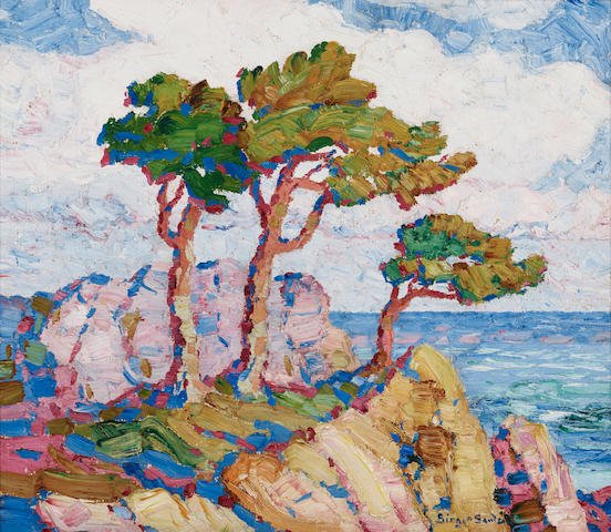 Birger Sandzén (1871-1954) Pines by the Sea 14 x 16in (Painted in 1924.)