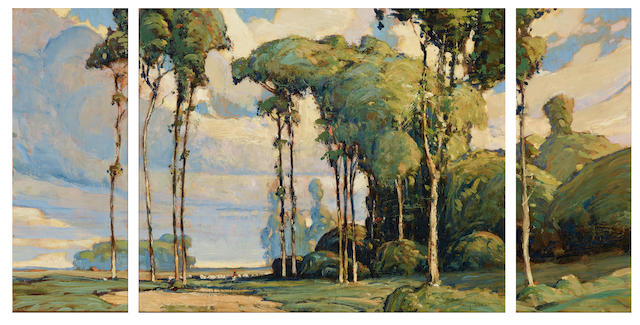 Karl Schmidt (1890-1962) Tall Trees of California center panel 13 1/2 x 16 1/4in; side panels, each 13 1/2 x 5 1/2in (Painted circa 1916.)