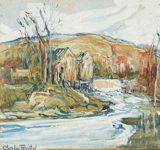Charles Reiffel (1862-1942) Houses along the water sheet 6 x 6 1/2in