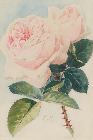 Paul de Longpre (1855-1911) Pink Roses sheet 10 x 7 1/2in