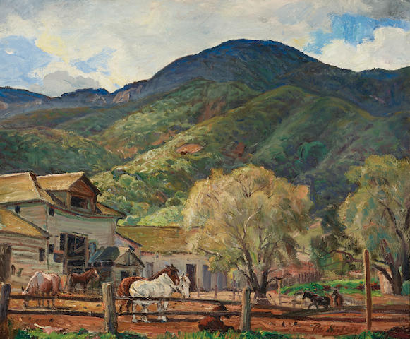 Peter Nielson (1873-1965) Horse Ranch in Orange County 20 x 24in