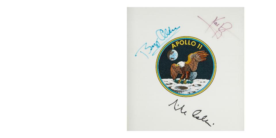 SIGNED BY THE ENTIRE APOLLO 11 CREW. Apollo 11 Beta cloth crew emblem,